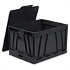 Collapsible Storage Crate - 45 lb - 9.25 gal - Media Size Supported: Letter, Legal - Lid Lock Closure - Heavy Duty - Stackable - Plastic - Black - For File Folder, Letter, Document, File, Box F
