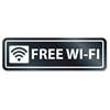 U.S. Stamp & Sign Free Wi-Fi Window Sign - 1 Each - Free Wi-Fi Print/Message - Rectangular Shape - Self-adhesive, Removable - White, Clear