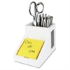 "Victor W9505 Pure White Pencil Cup with Note Holder - 4.5"" x 4"" x 6.3"" - Wood, Rubber, Frosted Glass - 1 Each - White"