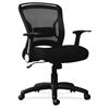 "Lorell Flipper Arm Mid-back Chair - Fabric Seat - 5-star Base - Black - 20.50"" Seat Width x 16.50"" Seat Depth - 27.8"" Width x 28"" Depth x 39.6"" Height"
