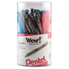 Pentel WOW! Retractable Ballpoint Pens - Medium Point Type - Triangular Point Style - Assorted - Translucent Barrel - 24 / Pack