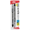 Pentel R.S.V.P. Stylus Ballpoint Pen - Fine Pen Point Type - Refillable - Black Ink - Clear Barrel - 2 / Pack