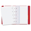 "Rediform Filofax Notebook - 112 Pages - Twin Wirebound - Ruled - 0.24"" Front Line(s) Space - 5.8"" x 4.1"" - Off White/Ivory Paper - Red Cover - Leatherette Cover - Elastic Closure, Indexed, Pocket, Rul"
