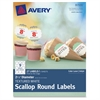 "Avery Textured Scallop Round Labels - Permanent Adhesive - 27 Label(s) - 2.50"" Diameter - 9 / Sheet - Round Scallop - Inkjet, Laser - White - 27 / Pack"