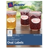 "Avery Textured Oval Labels - Permanent Adhesive - 63 Label(s) - 2.25"" Width x 1.13"" Length - 21 / Sheet - Oval - Inkjet, Laser - White - 12 / Pack"