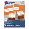 "Avery Textured White Print-to-the-Edge Wraparound Address Labels - Permanent Adhesive - 15 Label(s) - 7.85"" Width x 1.75"" Length - 5 / Sheet - Rectangle - Inkjet, Laser - White - 15 / Pack"