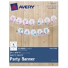 "Avery Matte White Party Banner 80507, 3-4/5"" x 4-5/16"", Pack of 20 Cards - 3.8"" Width x 4.3"" Height - White"