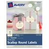 "Avery Pearlized Ivory Print-to-the-Edge Scallop Round Labels - Permanent Adhesive - 27 Label(s) - 2.50"" Diameter - 9 / Sheet - Round Scallop - Inkjet, Laser - Ivory - 27 / Pack"