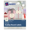 "Avery Pearlized Scallop Round Labels 72-pack - Permanent Adhesive - 72 Label(s) - 2.50"" Diameter - 9 / Sheet - Round Scallop - Inkjet, Laser - Ivory - 72 / Pack"