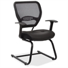 "Space seating Professional Air Grid Back Visitors Chair with Eco Leather Seat - Leather Black Seat - Black Frame - Sled Base - 20.50"" Seat Width x 19.50"" Seat Depth - 24.5"" Width x 25.5"" Depth x 37.3"""
