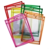 Neon Color Dry-erase Pockets - Neon Red, Neon Yellow, Neon Orange, Neon Green, Neon Pink Frame - Rectangle - 10 / Set