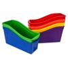 "Storex 5-Piece Book Bin - 1 Compartment(s) - 12.6"" Height x 5.3"" Width x 14.3"" Depth - Recycled - Red, Green, Blue, Purple, Yellow - Plastic - 5 / Set"