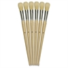 No. 12 Round Bristle Brush Set - 6 Brush(es) - No. 12 - Aluminum Ferrule - Wood Handle - Natural, Natural, White