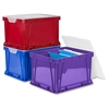 "Storex 3 Piece Cube Storage Bins - External Dimensions: 14.3"" Width x 17.3"" Depth x 10.5"" Height - Stackable - Plastic - Assorted Bright - For File - Recycled - 3 / Set"