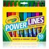 Crayola Power Lines 10-color Project Markers - Brown, Red, Blue, Violet, Black, Yellow, Magenta, Light Blue, Green, Orange Burst - 10 / Pack