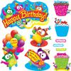 "Owl-Stars! Birthday Bulletin Board Set - Birthday Theme/Subject - 4 Owl, 12 Cupcake, 40 Label x 21"" Width - Multicolor - 57 / Set"