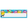 "Owl-Stars! Desk Toppers Nameplates - Learning Theme/Subject - Colorful Owls, White Stars - 2.88"" Height x 9.50"" Width - Multicolor - 36 / Pack"