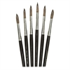 No. 12 Watercolor Brushes - 6 Brush(es) - No. 12 - Aluminum Ferrule - Wood Handle - Natural, Natural