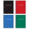 "College-ruled Wirebound Notebook - 70 Sheets - Printed - Wire Bound - College Ruled 8"" x 10.50"" - White Paper - Red, Blue, Black, Green Cover - Poly Cover - 1Each"