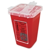 "1-qt Sharps Container - Lockable - 1 quart Capacity - Puncture Resistant, Handle - 6.8"" Height x 5"" Width x 4.5"" Depth - Red"