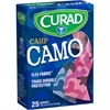 "Curad Pink Camp Camo Sterile Bandages - 0.75"" x 3"" - 25/Box - Camo Pink - Fabric"