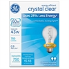 GE Energy-efficient Clear 43W A19 Bulb - 43 W - 120 V AC - 750 lm - A19 Size - Clear Light Color - E26 Base - 1000 Hour - 4760.3°F (2626.8°C) Color Temperature - Energy Saver - 12 / Carton