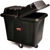 "300-lb Cap. Cube Truck - 44.91 gal Capacity - Cube - Durable - 28.1"" Height x 26"" Width - Metal, High-density Polyethylene (HDPE) - Black"