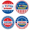 "I Voted Today Wear'Em Badges - Encouragement Theme/Subject - I Voted Today - Self-adhesive - 2.38"" Diameter - Red, White, Blue - 32 / Pack"