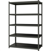 "Hirsh 3,200 lb Capacity Iron Horse Shelving - 5 Compartment(s) - 72"" Height x 48"" Width x 24"" Depth - Recycled - Gray, Black Shelf - Steel, Particleboard - 1Each"