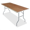 "Natural Plywood Rectangular Folding Table - Rectangle Top - Folding Base - 30"" Table Top Width x 72"" Table Top Depth x 0.75"" Table Top Thickness - 29"" Height - Natural"