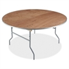 "Natural Plywood Round Folding Table - Round Top - Folding Base - 0.75"" Table Top Thickness x 60"" Table Top Diameter - 29"" Height - Natural"