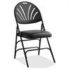 "XL Fanback Steel and Vinyl Folding Chair - Vinyl Black, Steel Seat - Polypropylene Black Back - Steel Black Frame - Four-legged Base - 16.93"" Seat Width x 16.93"" Seat Depth - 19.3"" Width x 2"