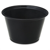 Genuine Joe Portion Cups - 4 fl oz - 2500 / Carton - Black - Polystyrene - Beverage, Sauce