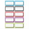 Chevron Border Die-cut Nameplates - 10 Rectangle - Magnetic - Chevron - Write on/Wipe off, Die-cut - Multicolor - 1 Pack
