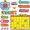Trend WipeOff Stars/Swirls Calendar Bulletin Brd Set - Learning Theme/Subject - Reusable - 55 Piece