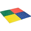 "ECR4KIDS SoftZone Hands & Feet Play Mat, 4-Fold - Home, Classroom - 50"" Length x 50"" Width x 1.50"" Thickness - Square - Vinyl, Foam - Multicolor"