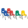 "ECR4KIDS 12"" Stack Chair with Chrome Legs, 6 Piece - AS - Plastic Seat - Plastic Back - Steel Frame - Four-legged Base - Blue, Red, Yellow, Green - 15.5"" Width x 14.8"" Depth x 22.5"" Height"