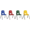 "ECR4KIDS 14"" Stack Chair with Chrome Legs, 6 Piece - AS - Plastic Seat - Plastic Back - Steel Frame - Four-legged Base - Blue, Red, Yellow, Green - 17"" Width x 16.5"" Depth x 26"" Height"