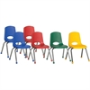 "ECR4KIDS 16"" Stack Chair with Chrome Legs, 6 Piece - AS - Plastic Seat - Plastic Back - Steel Frame - Four-legged Base - Blue, Red, Yellow, Green - 17.3"" Width x 17.3"" Depth x 28.8"" Height"
