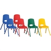 "ECR4KIDS 16"" Stack Chair with Matching Legs, 6 Piece - AS - Plastic Seat - Plastic Back - Steel Frame - Four-legged Base - Blue, Red, Yellow, Green - 17.3"" Width x 17.3"" Depth x 28.8"" Height"