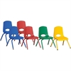 "ECR4KIDS 12"" Stack Chair with Matching Legs, 6 Piece - ASG - Plastic Seat - Plastic Back - Steel Frame - Four-legged Base - Blue, Red, Yellow, Green - 15.5"" Width x 14.8"" Depth x 22.5"" Height"
