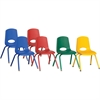 "ECR4KIDS 14"" Stack Chair with Matching Legs, 6 Piece - ASG - Plastic Seat - Plastic Back - Steel Frame - Four-legged Base - Blue, Red, Yellow, Green - 17"" Width x 16.5"" Depth x 26"" Height"