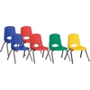 "ECR4KIDS 12"" Stack Chair with Chrome Legs, 6 Piece - ASG - Plastic Seat - Plastic Back - Steel Frame - Four-legged Base - Blue, Red, Yellow, Green - 15.5"" Width x 14.8"" Depth x 22.5"" Height"