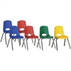 "ECR4KIDS 16"" Stack Chair with Chrome Legs, 6 Piece - ASG - Plastic Seat - Plastic Back - Steel Frame - Four-legged Base - Blue, Red, Yellow, Green - 17.3"" Width x 17.3"" Depth x 28.8"" Height"