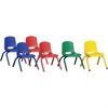 "ECR4KIDS 10"" Stack Chair with Matching Legs, 6 Piece - ASG - Plastic Seat - Plastic Back - Steel Frame - Four-legged Base - Blue, Red, Yellow, Green - 15.3"" Width x 14.8"" Depth x 20.5"" Height"