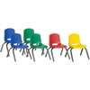 "ECR4KIDS 10"" Stack Chair with Chrome Legs, 6 Piece - ASG - Plastic Seat - Plastic Back - Steel Frame - Four-legged Base - Blue, Red, Yellow, Green - 15.3"" Width x 14.8"" Depth x 20.5"" Height"