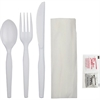 GCN Individual 4-pc Eating Utensil Set - 4 Piece(s) - 250/Carton - Spoon - Knife - Fork - Breakroom - Polypropylene - White