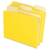 "Two-Tone Color File Folder - Letter - 8 1/2"" x 11"" Sheet Size - 1/3 Tab Cut - Assorted Position Tab Location - 11 pt. Folder Thickness - Yellow - 100 / Box"