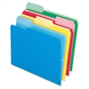 "Cutless File Folder - Letter - 8 1/2"" x 11"" Sheet Size - 1/3 Tab Cut - Assorted Position Tab Location - 11 pt. Folder Thickness - Blue, Red, Yellow, Green - 100 / Box"