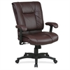 "Office Star EX9381 Deluxe Executive Mid-Back Chair - Leather Burgundy Seat - Black Frame - 28"" x 28.8"" x 42.5"" Overall Dimension"